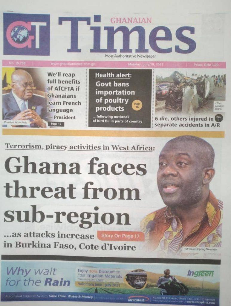 Newspaper Headlines Monday , July 19, 2021. 124