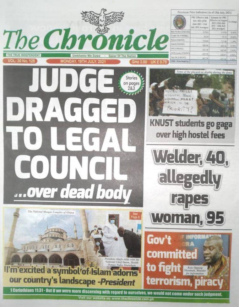 Newspaper Headlines Monday , July 19, 2021. 123