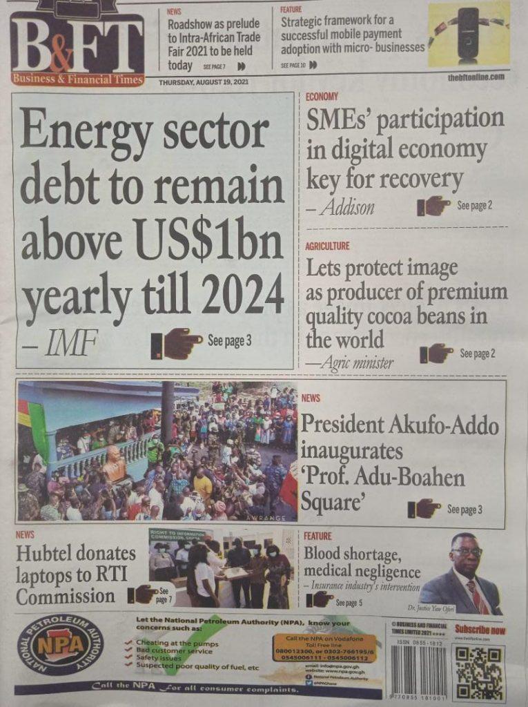 Newspaper headlines of Thursday, August 19, 2021. 94
