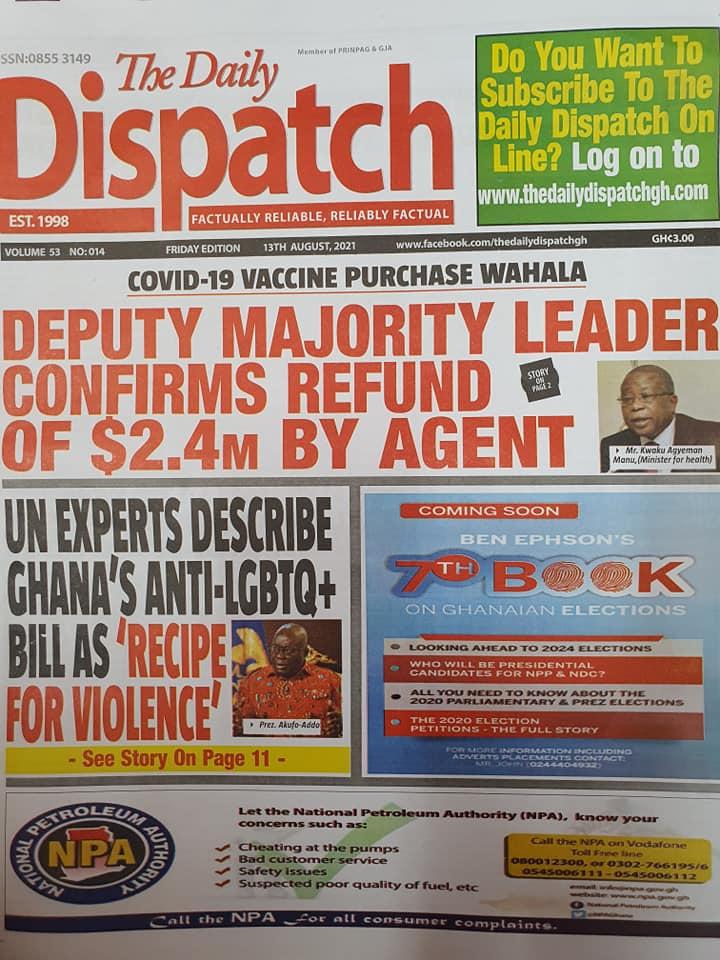 Newspaper headlines of Friday, August 13, 2021. 137