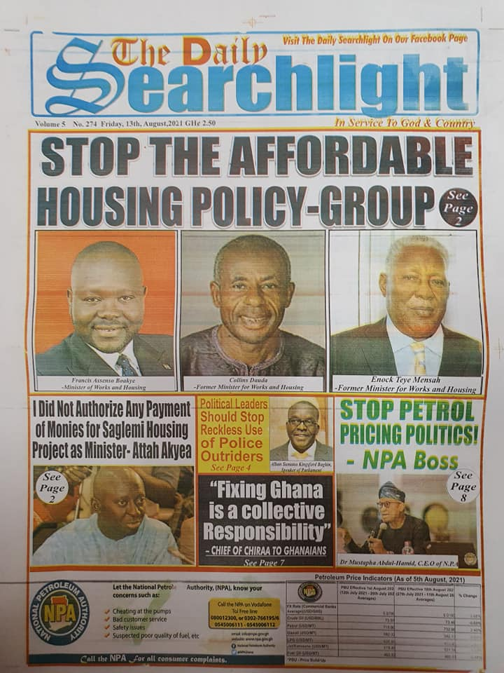 Newspaper headlines of Friday, August 13, 2021. 136