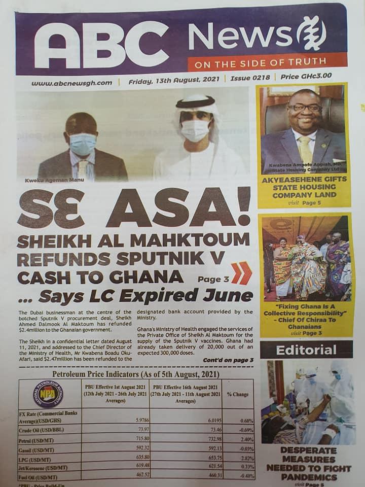 Newspaper headlines of Friday, August 13, 2021. 132