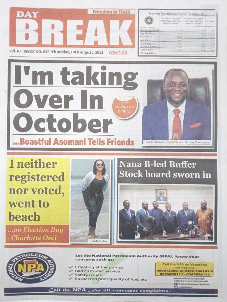 Newspaper headlines of Thursday, August 19, 2021. 90