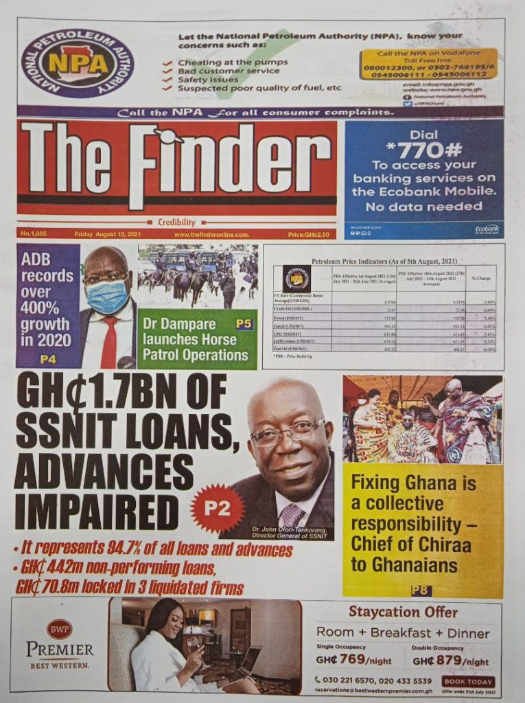 Newspaper headlines of Friday, August 13, 2021. 124