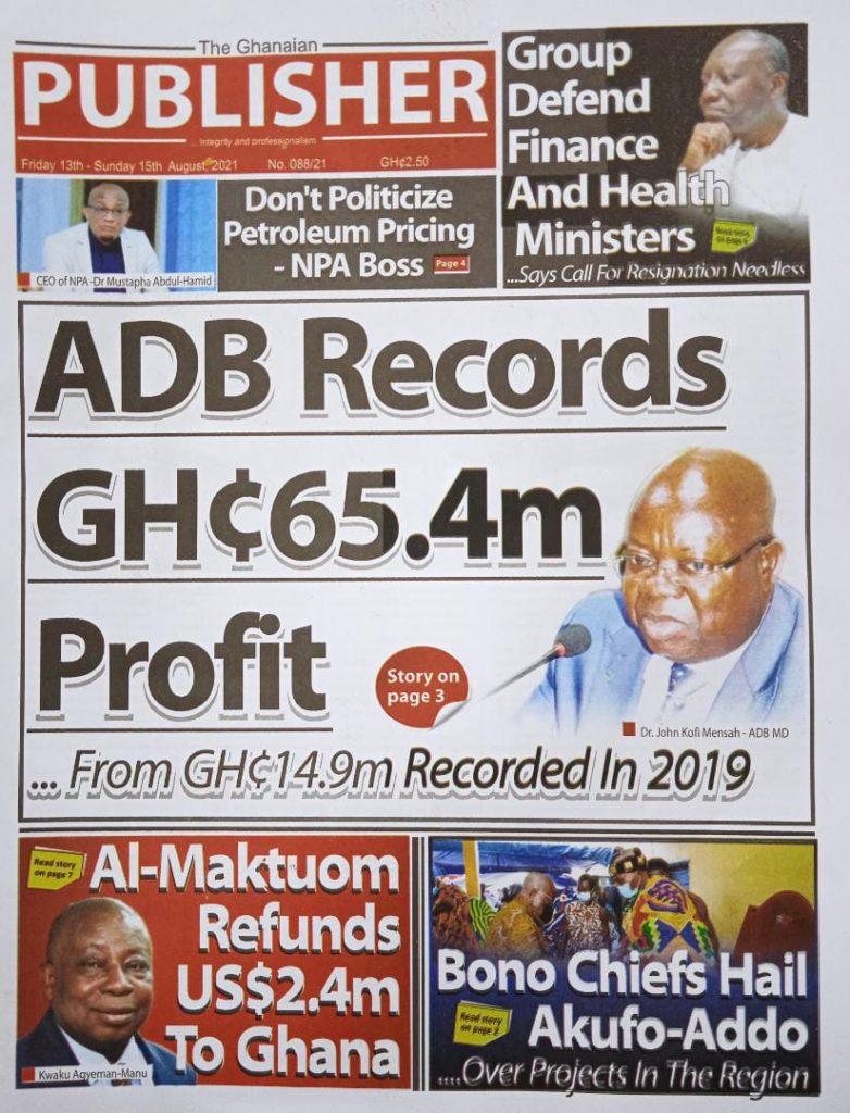 Newspaper headlines of Friday, August 13, 2021. 128