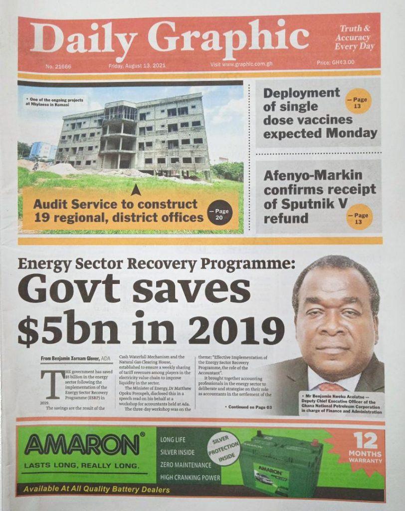 Newspaper headlines of Friday, August 13, 2021. 125