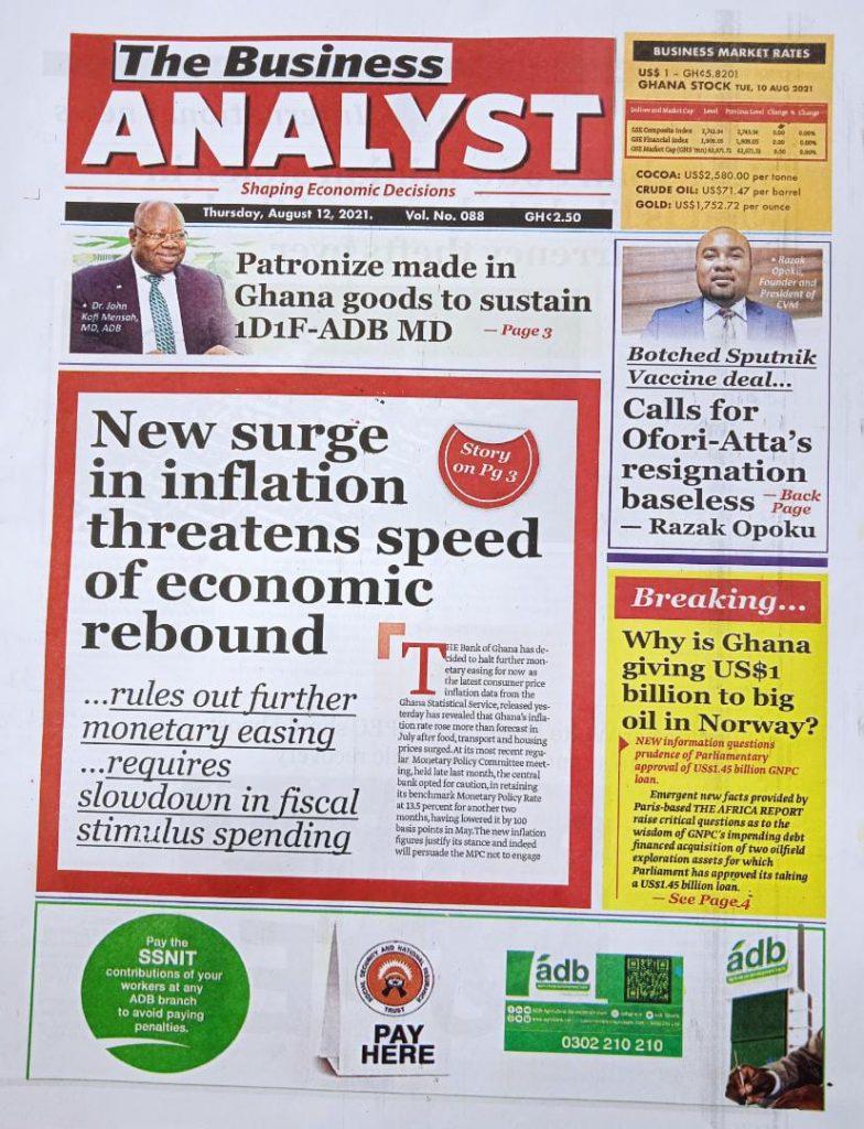Newspaper headlines of Thursday, August 12, 2021. 91