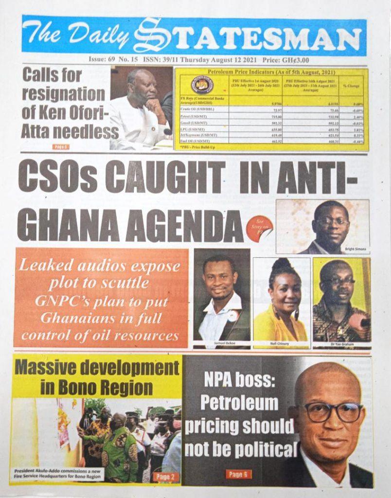 Newspaper headlines of Thursday, August 12, 2021. 94