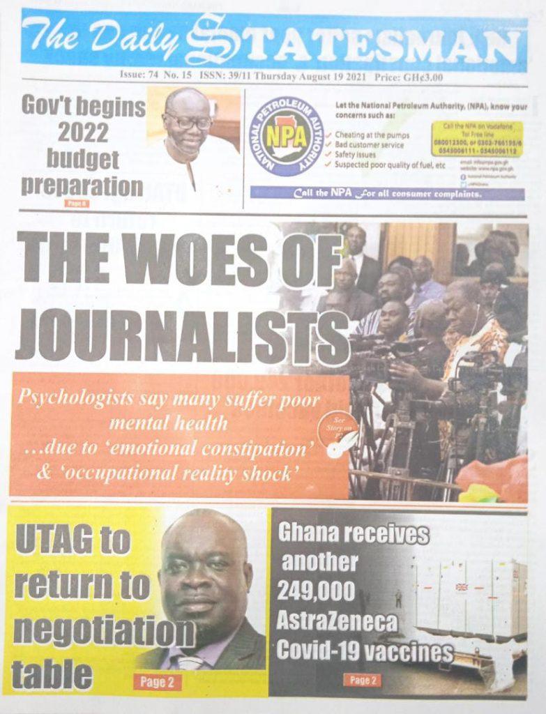 Newspaper headlines of Thursday, August 19, 2021. 95