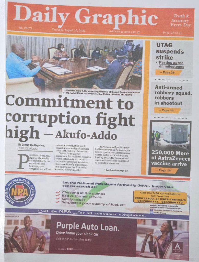 Newspaper headlines of Thursday, August 19, 2021. 96