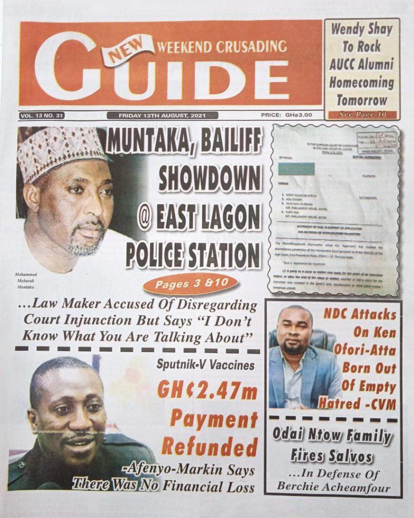 Newspaper headlines of Friday, August 13, 2021. 123