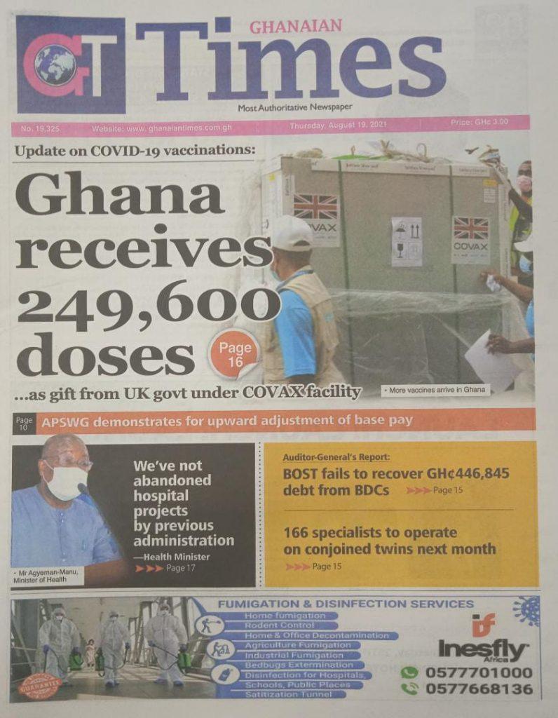 Newspaper headlines of Thursday, August 19, 2021. 93