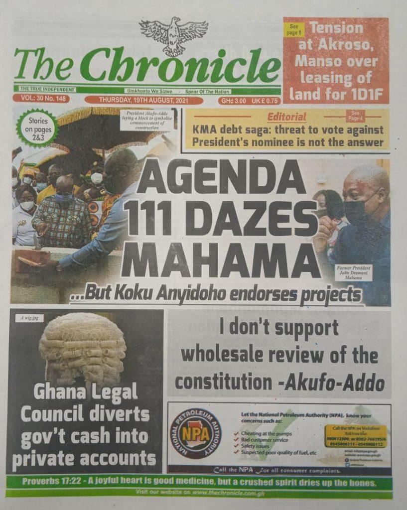 Newspaper headlines of Thursday, August 19, 2021. 87