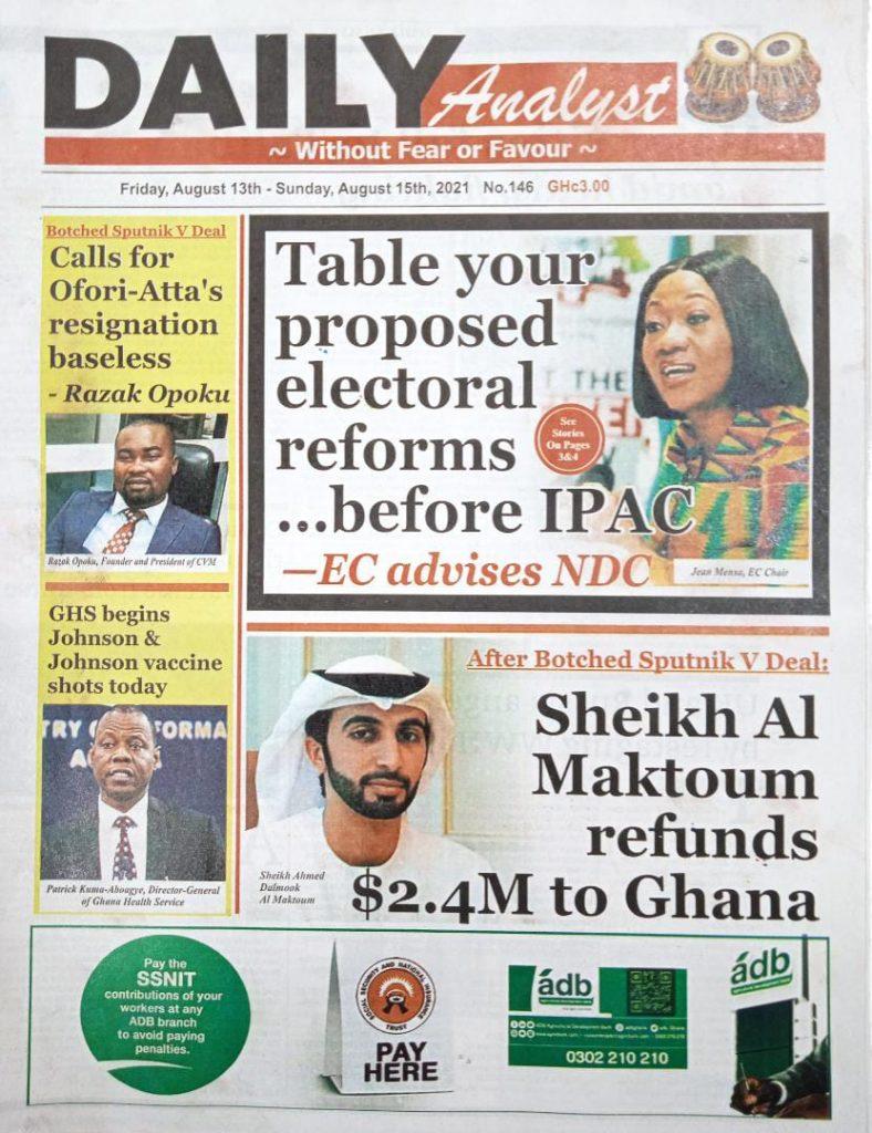 Newspaper headlines of Friday, August 13, 2021. 131