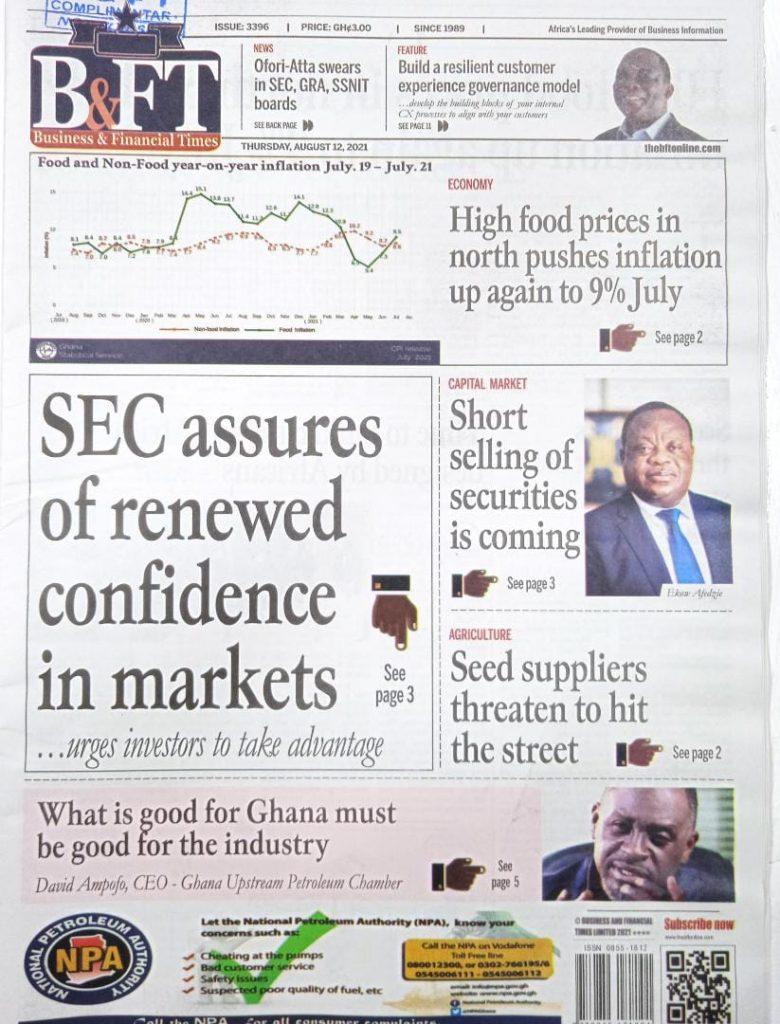 Newspaper headlines of Thursday, August 12, 2021. 96