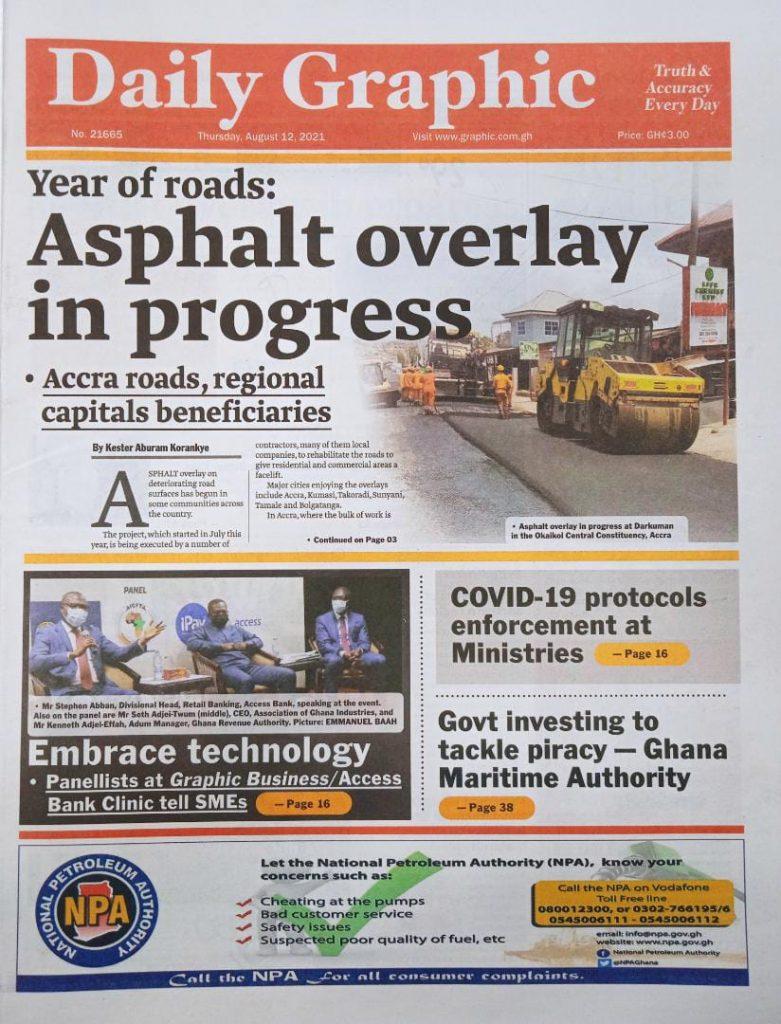 Newspaper headlines of Thursday, August 12, 2021. 95