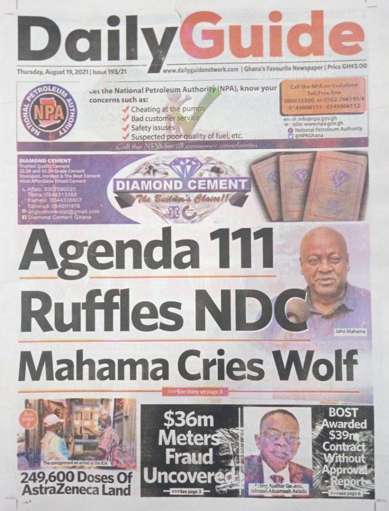 Newspaper headlines of Thursday, August 19, 2021. 92